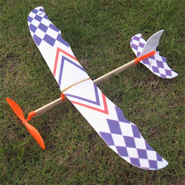 새로운 창조적 인 고무 밴드 탄성 플라스틱 글라이더 비행 비행기 비행기 모델 DIY 어린이 지능 장난감 선물
