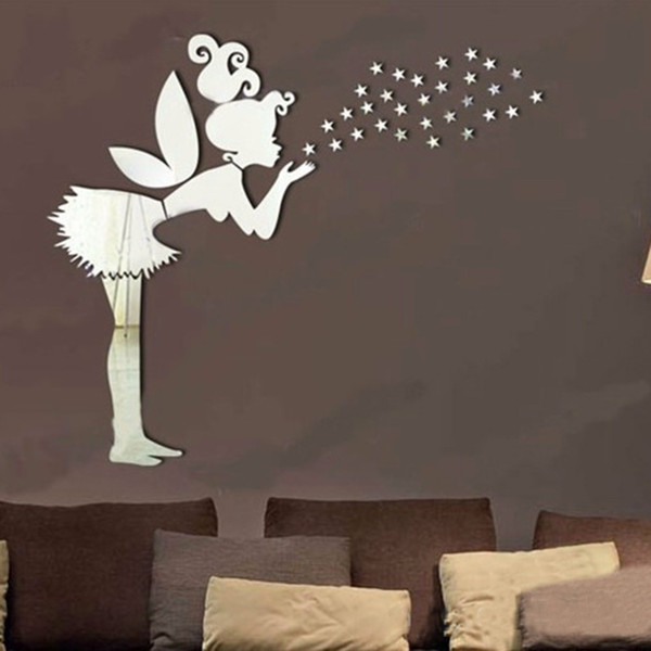Acquista Angel Magic Fairy Stars 3D Specchio Wall Sticker Camera Da Letto  Bambini Decorazione Regalo Creativo Adesivo Murale Bambina A $2.38 Dal ...