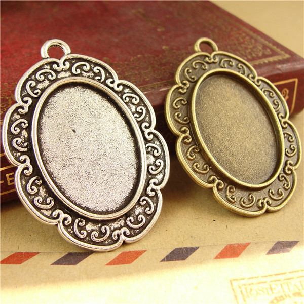 Fit 25*18MM european oval metal stamping blank tray, vintage gold antique bronze pendant base, tibetan silver bezel cameo cabochon setting