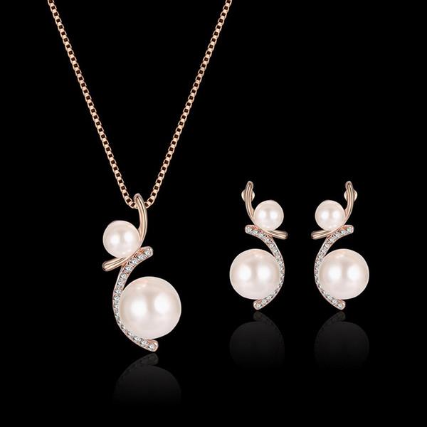 Banhado A ouro Liga Inteligente Imitação de Pérolas Flor Brinco Conjunto Colar de Pingente de Moda Jóias de Casamento Set para As Mulheres
