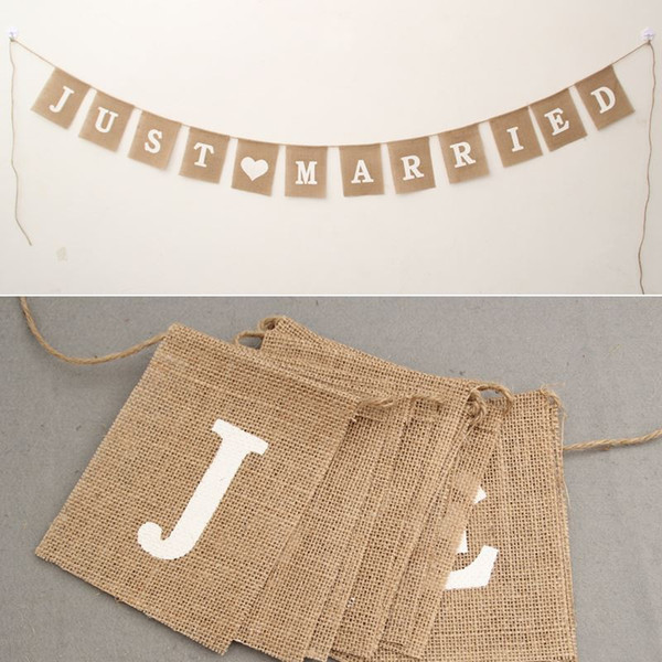 jute rope flax Wedding Photo Props Vintage Banner Jute Burlap Bunting Just Married Rustic Garland Party wedding Decoration