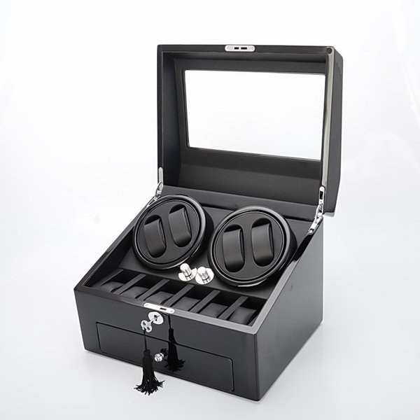 Wooden Piano Paint Luxury Watch Box 4 Watch Winder Silence Japan Motor Automatic Rotation Display Box Good 6 storage case Great Gift