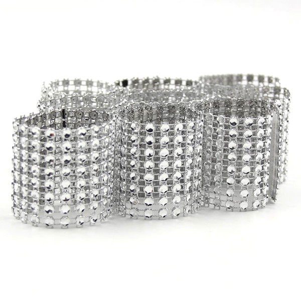 Wholesale- 20PCS/Lot Hot Sale Silver 8 Rows Bow Covers With Closure Napkin Ring Diamond For Wedding Party Chair Sashes Decoration Crafts
