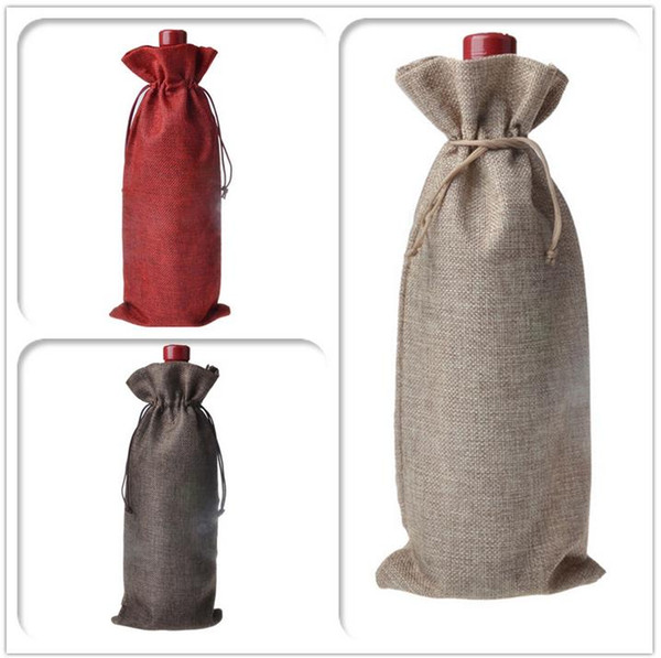 best selling Jute Wine Bags Champagne Wine Bottle Covers Gift Pouch burlap Packaging bag Wedding Party Decoration Free shipping