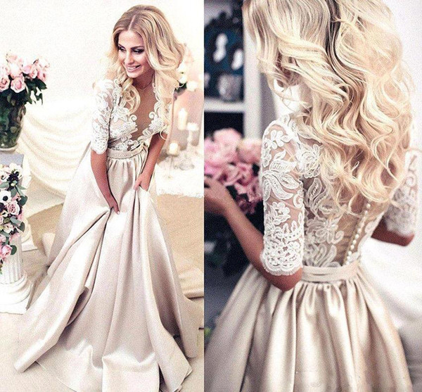 best selling 2019 Handmade Half Sleeves Prom Dresses Applique Covered Button Back Lace Evening Long Dresses Junior Skinny Girl Party Gowns Bridal Gowns