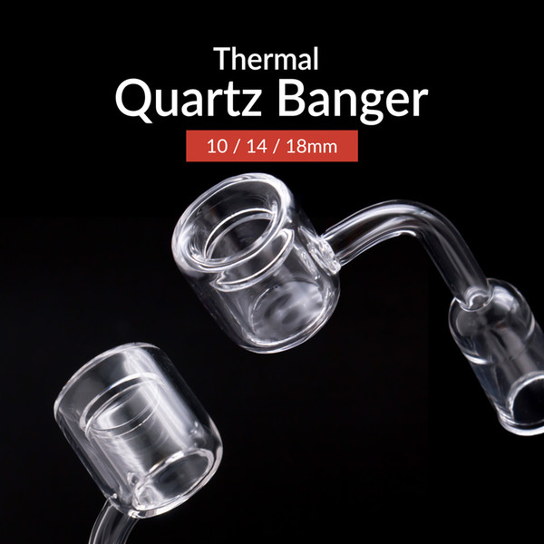 2018 New XXL Quartz Thermal Banger 45 90 degree 10mm 14mm 18mm Double Tube Quartz Banger domeless Nails For dab rigs Bongs