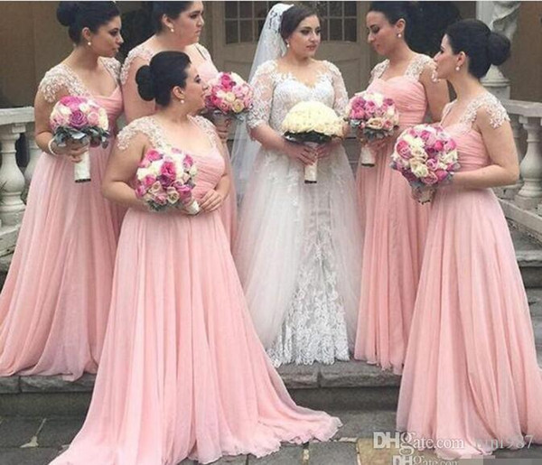 Plus Size Pink Long Bridesmaid Dresses 2016 Strapless Cap Sleeves Applique Pearls Floor Length Custom Made Maid of Honor Gowns Chiffon Bride