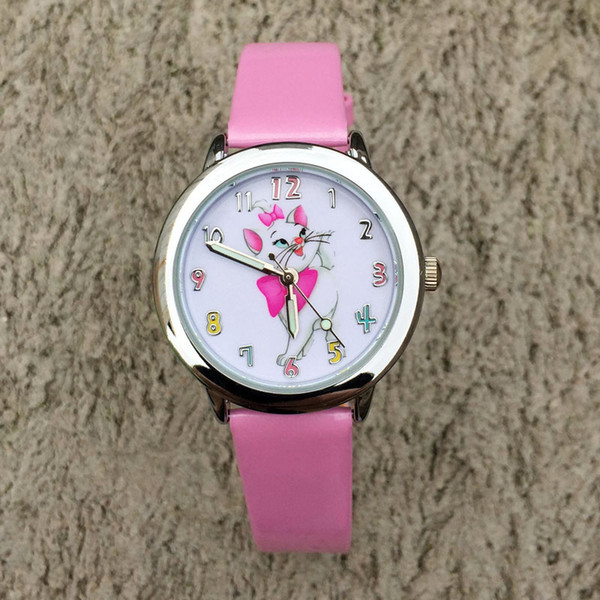 zichen080514 / Cartoon Marie Cat style dial children students girl's boy's leather quartz wrist watch 03