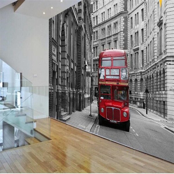 Wholesale-Custom photo wallpaper European classical art retro nostalgia red London bus hotel hall bedroom living room mural wall paper