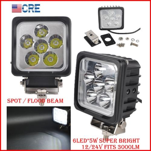 """DHL 2PCS 5"""" 30W CREE Chips LED Driving Work Light Square 6LED*5W Offroad SUV ATV 4WD 4x4 Spot Pencil / Flood Spread Beam 3000LM Super Bright"""
