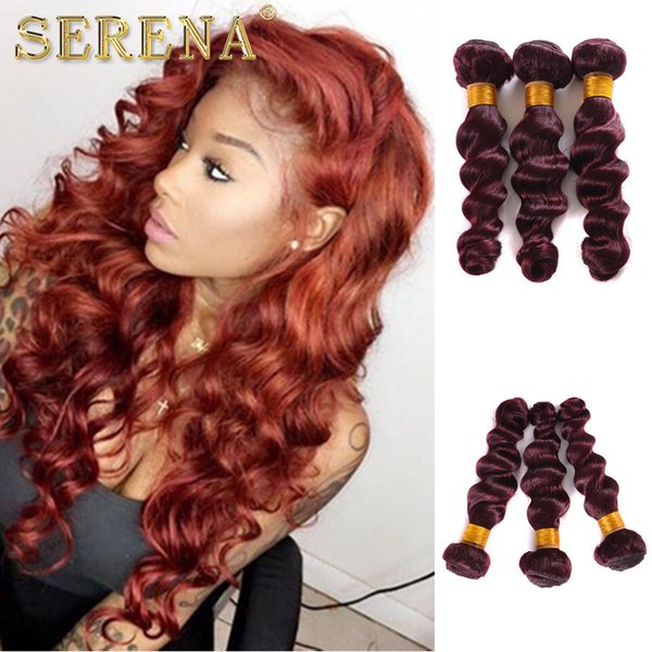 Mink Brazilian Curly Virgin Hair Bundles 3 Pcs Lot 99J Color Human Hair Extension Burgundy Best Selling Loose Wave With Machine Double Weft