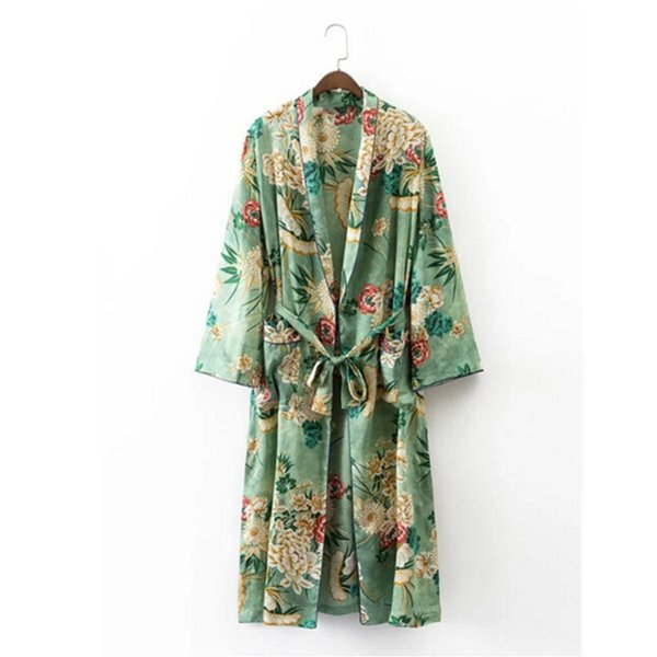 Wholesale- 2017 Ethnic Flower Print with sashes Kimono Shirt Retro New Bandage Cardigan Blouse Tops blusas chemise femme blusa