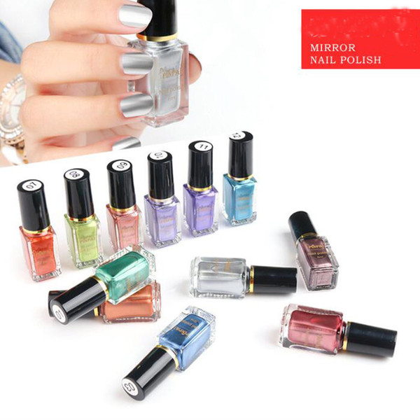 top popular 12 colors 6ml Mirror Effect Chrome metal mirror Nail Art Varnish Polishn stock DHL shipping 2021