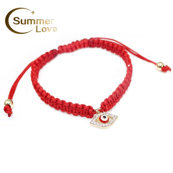 Wholesale-High Quality Turkish Lucky Evil Eye Bracelets For Women 3 Colors Handmade Braided Rope Lucky Jewelry Red Thread Bracelet Female