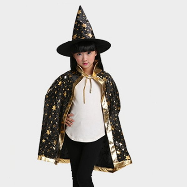 Children Costumes Halloween Cloak Cap Fancy Dress Witch Wizard Gown Robe and Hats Cosplay Prop for Star Costume Cape Kids Party