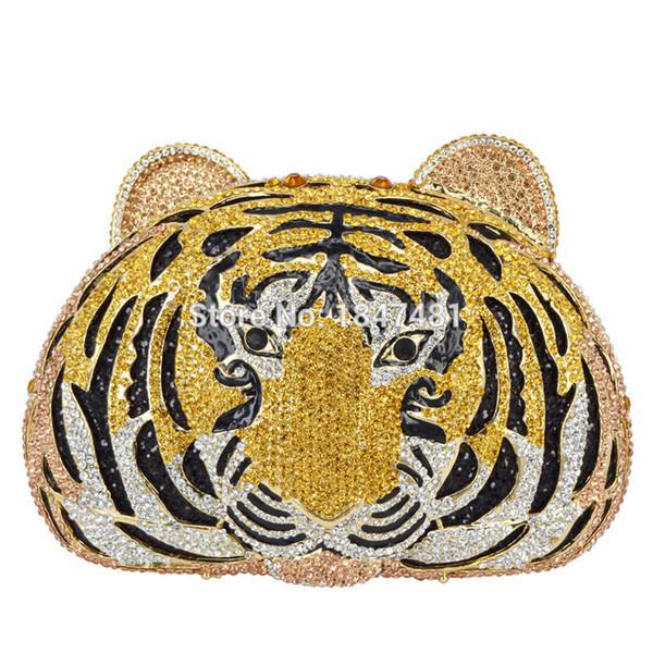 Vente en gros-Animal plein de diamants de luxe sac de soirée Tiger Head Clutch Bag Femmes Diamante Sac à main de mariage Sacs Cristal Sac de soirée SC048