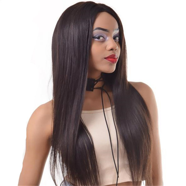 Long human hair wigs 26inch 1b silk straight unprocessed peruvian hair lace front wig free shipping