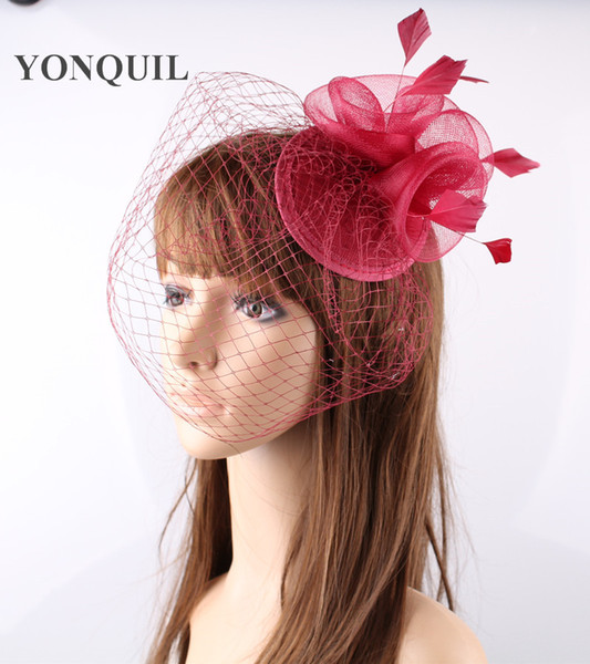Free shipping 16 colors 3 roses with feather flower fascinators with veils for wedding headwear bridal veils party hats OF1537