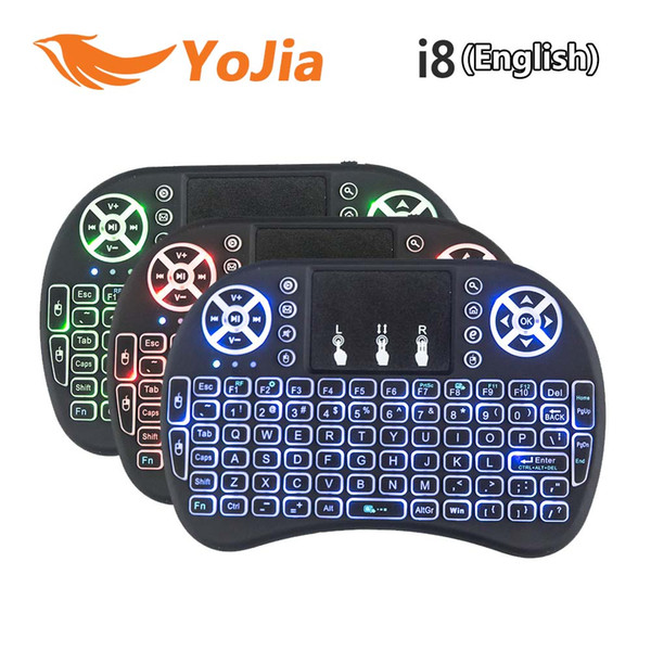 top popular 20pcs Backlit i8 Wireless Keyboard Backlit Backlight Air Mouse Remote With Touchpad Handheld For TV BOX X96 T95 M8S mini Plus 2021