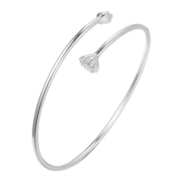 5pcs/lot 925 Sterling Silver Jewelry Yoga Delicate Lotus Cuff Bangle Bracelet Women Unique Handmade Original Design