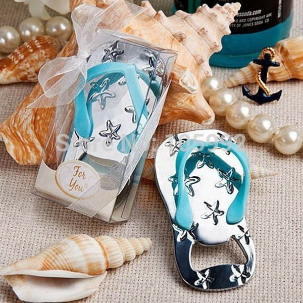 Wholesale- Flip flop wine bottle opener with starfish design 40PCS/LOT wedding favor guest gift blue Rope with PVCbox Ribbon and rope