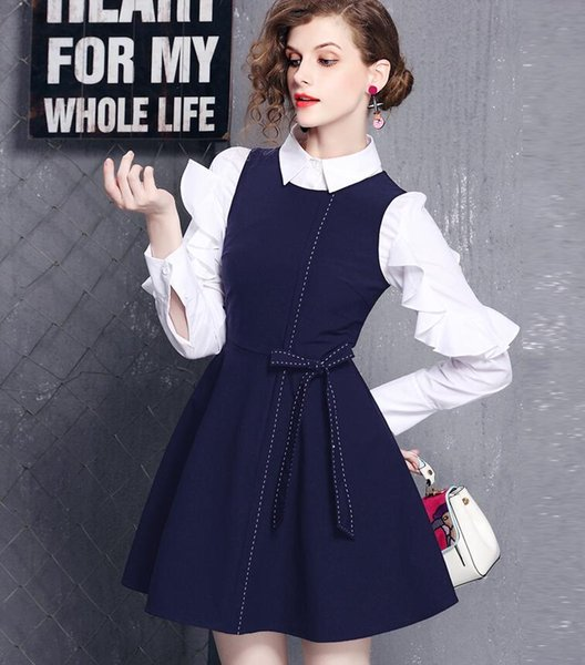 New Spring Autumn Women Fashion Two Piece Sets White Long Sleeve Blouses Butterfly Sleeve T Shirts + Navy High-waisted A-Line Vest Dresses