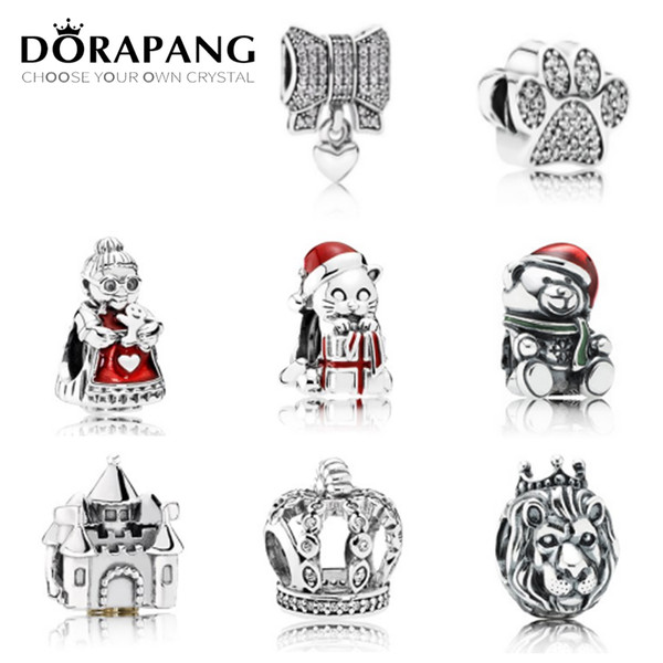 DORAPANG Authentic 925 Sterling Silver Bead Charm Cartoon Love Heart With Crystal Loose Beads Fit Women Bracelet Bangle DIY Jewelry Gift