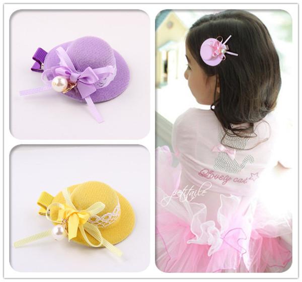 2015 nuevo sombrero lindo de los niños de la pinza de pelo de los sombreros de la muchacha del estilo de Corea del Sur de la llegada con la horquilla 20pcs / lot del bowknot libera el envío