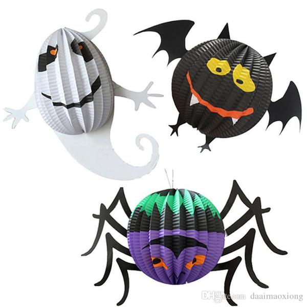Funny Halloween Pumpkin Spider Bat Skeleton Lamp Paper Lanterns Decor Party NB0444