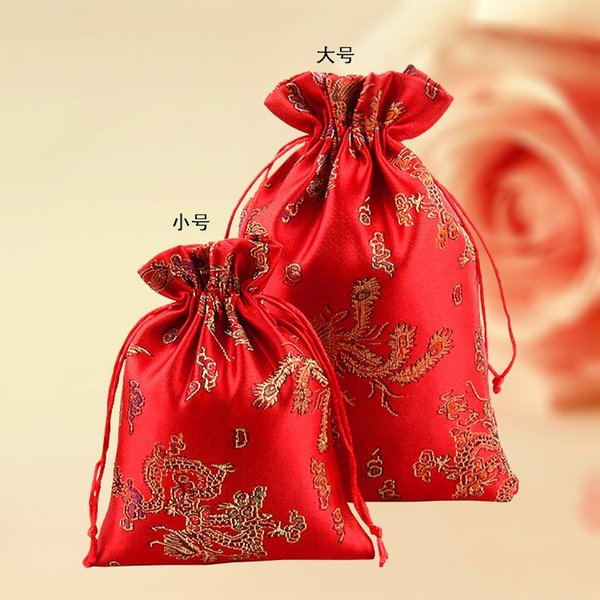 Red Embroidery Silk gift bag 10x14cm 13x18cm Dragon Phoenix Brocade Wedding Favor Holder bag Jewelry Packaging