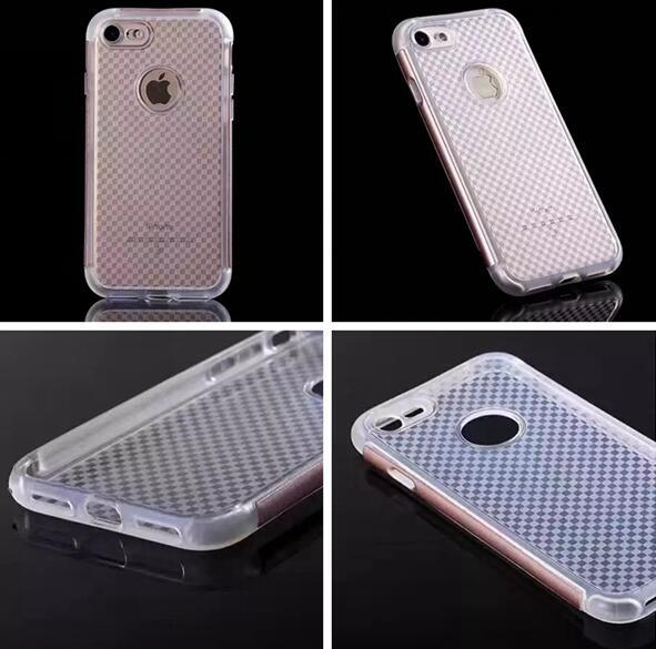 For Iphone 7 Plus 7plus 6 6S SE 5 5S Grid Hard PC TPU Soft Case Hybrid Clear Bumper Round Hole Cover Cell Phone Colorful Skin Fashion 10PCS
