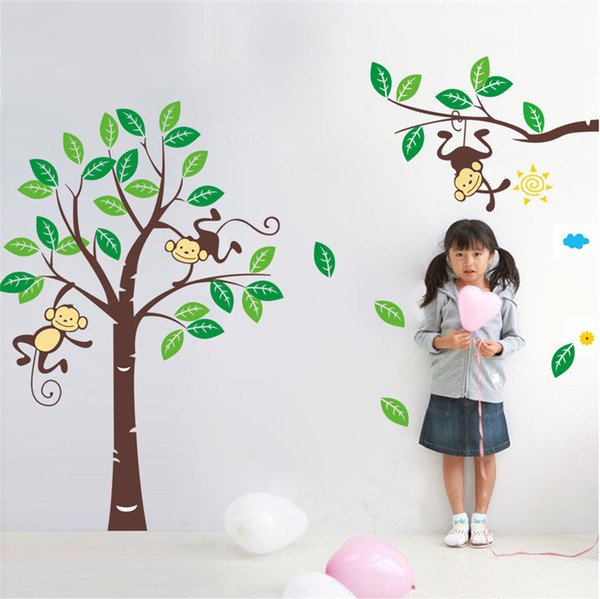 fashion Creative DIY wall sticker for kids bedroom Carved Removable Forest monkey paradise cartoon kindergarten Sticker Decor 2017 Wholesale
