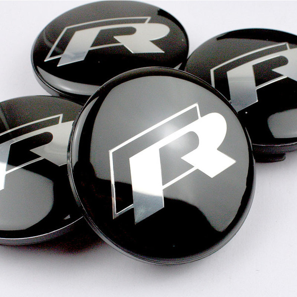 High Quality 20PCS 65mm FOR R Line Black Alloy Logo Auto Wheel Center Badge 60mm for VW Scirocco Golf Polo Car Wheel Hubs Caps Emblem