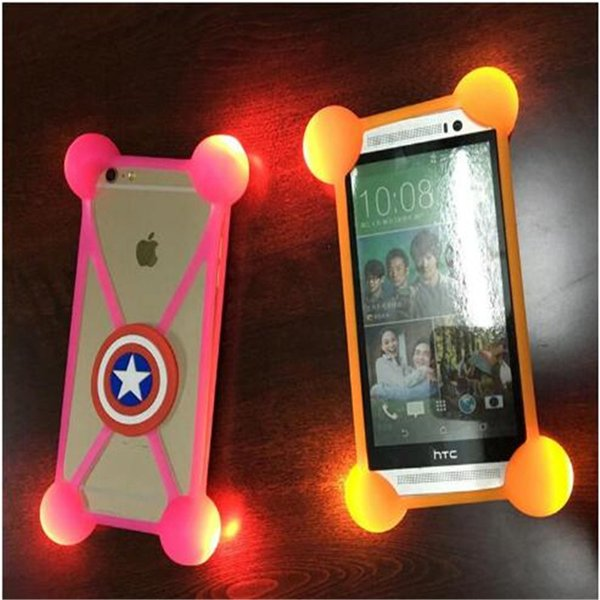 Universal LED Case 3D Cartoon Lighting Flicker Silicon Frame Bumper Cases shockproof Back Cover For iPhone 5s 6 6s plus 7 7 plus Samsung s8