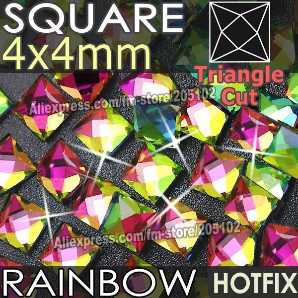 Al por mayor- Cuadrado 4X4 mm 350pcs / Lot RainBow Crystals HotFix FlatBack Rhinestones de cristal strass, forma de lujo DMC Hot Fix piedras para boda
