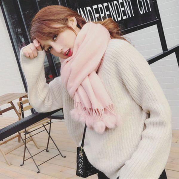 Classic Women Faux Cashmere Solid Scarf Rabbit Fur Pom Pom Scarves With Tassel Winter Warm Wrap Shawl