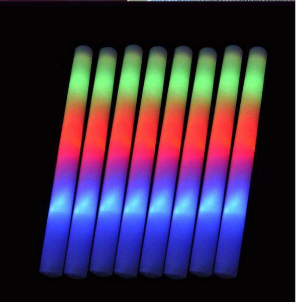 "top popular LED Glow light Up Foam Stick toys Color Led Foam glow stick Wedding Party Decoration Toys 19"" LED Wands Rally Batons DJ 2020"