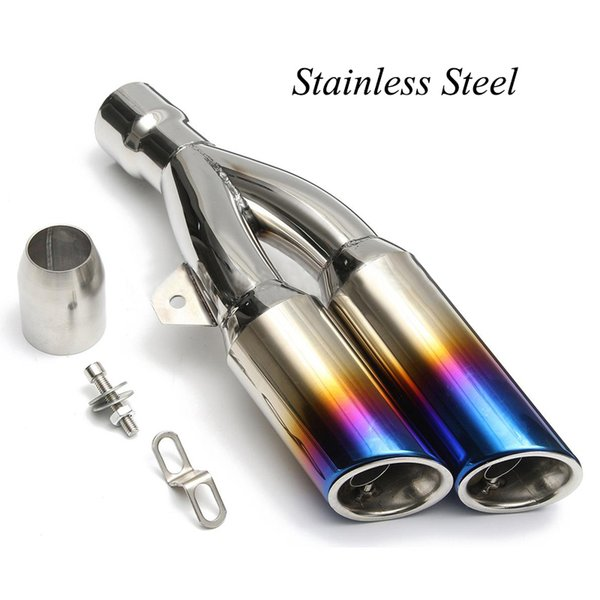 Universal Exhaust Muffler Pipe Double Outlet Tail Pipe with Removable DB Killers For Dirt Street Bike Motorcycle 38-51mm