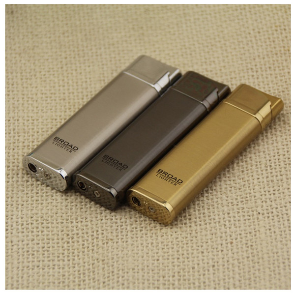 Wholesale- 2016 New Fashion MINI Slim Windproof Lighter High Quality Metal Isqueiro Flameless Torch Lighters Men Business Gifts NO GAS