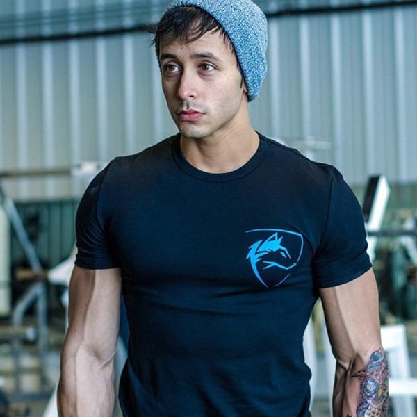 GYM men T-Shirt Fitness Bodybuilding Slim fit Camisas Crossfit Ropa de algodón de manga corta Moda Ocio O-cuello impreso Tees