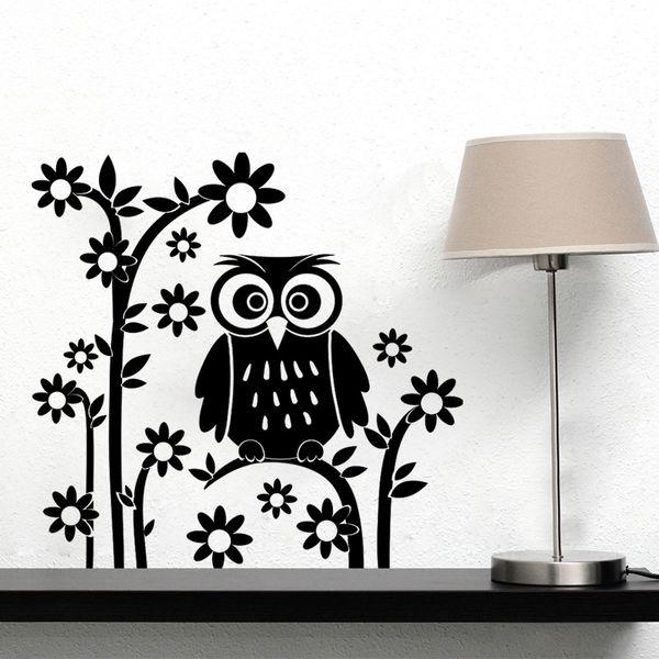 AW9087 DIY Owl Cartoon Wall Stickers Removable Art Vinyl Decal Kids Nursery Room Home Decor Free Shipping
