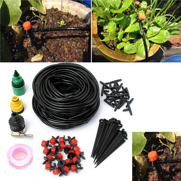 top popular 10m 15 Drip Nozzles DIY For Garden Watering Sprinklers Plants Irrigator Dripper Hose Kits Greenhouse Drip Irrigation System 2019
