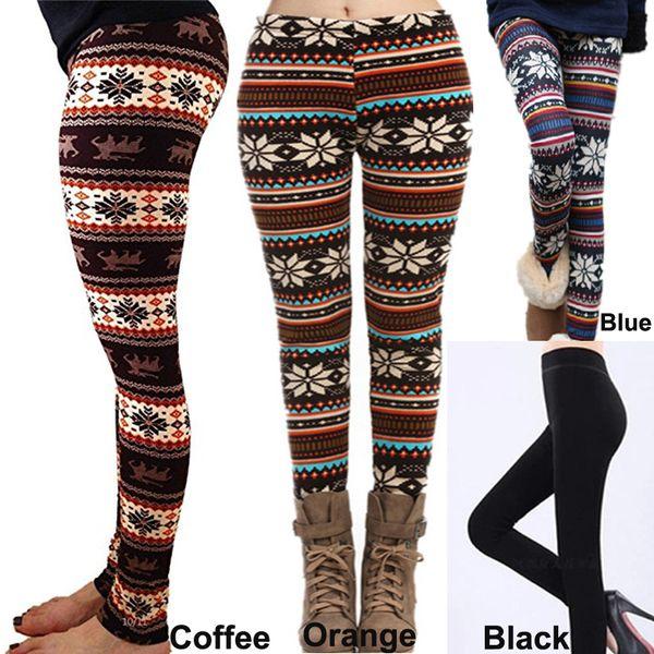 0cbef69287357 20pcs 2016 Fall Winter Leggings for Women Fur Thick Warm Fleece Snowflake  Deer Printed Lady's Black