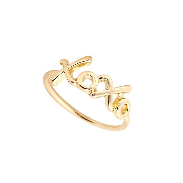 Ring handmade Sterling Wire letter XO XO Wrap Filled French Word Bride Girlfriend Gift anneau Simple Wedding Jewelry jl-296