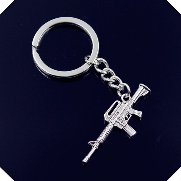 new-fashion-men-30mm-keychain-DIY-metal-holder-chain-vintage-machine-gun-assault-rifle-45-16mm key rings