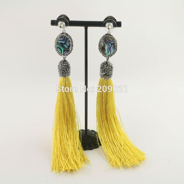 3Pair Tassel Dangle Hook Earrings , Pave Rhinestone Shell Charm Earring For Women Jewelry Finding
