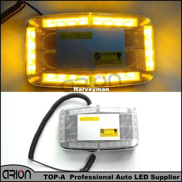 Car 12V 24 LED Amber Emergency Flashing Truck LED Top Roof Bar Strobe Light Warning Strobe Light Free Shipping
