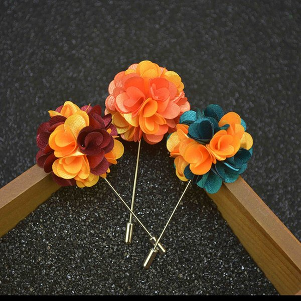Multicolor Flower Brooch Handmade Boutonniere Stick Brooch Pin for Men Women 12 Colors Suit Lapel Pin Brooches