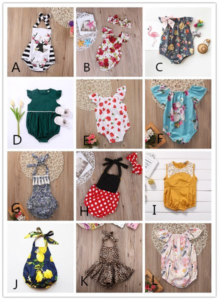 best selling 12 Styles Baby Girl Romper Suit Kid Boutique Clothing Toddler Onesies Floral Fruit Solid Leopard Jumpsuit Bodysuit Ruffles Leotards 0-2Y