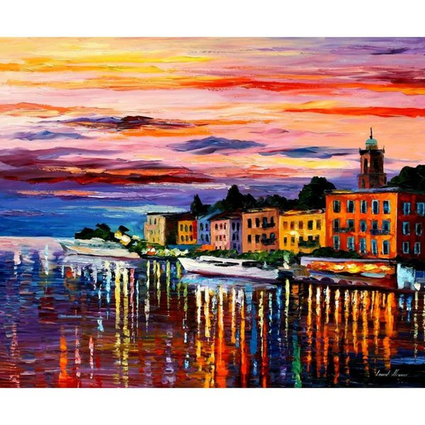 Landscapes art oil paintings Leonid Afremov lake como bellagio modern canvas Painting hand-painted wall decor